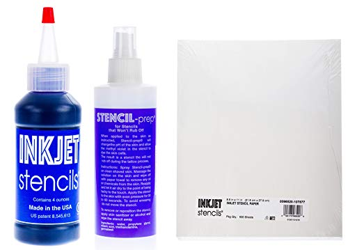 - Inkjet Stencils Tattoo Stencil Refill Kit - Paper, Stenciling Prep Spray & Ink