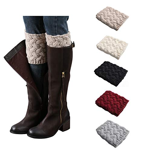 Bestjybt Womens Short Boots Socks Crochet Knitted Boot Cuffs Leg Warmers Socks, 5 Pairs, One Size, 5 Pairs -