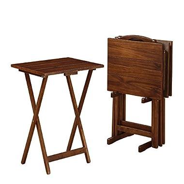 Linon Acacia Tray Table Set in Walnut
