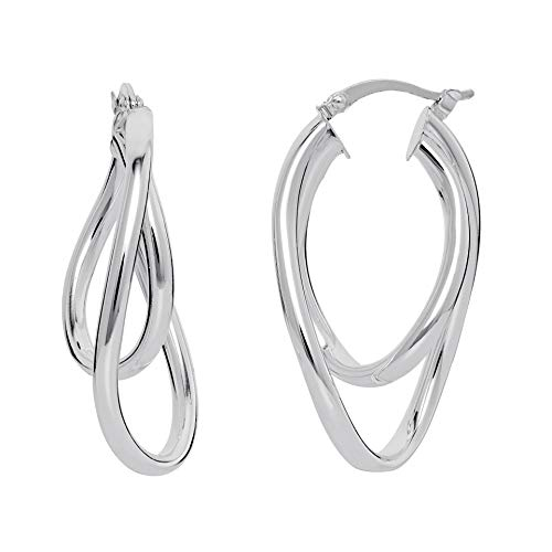 (Ellen Tracy Sterling Silver Twisted Double Hoop Oval Earrings)