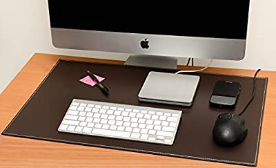 Computer Leather Desk Pad, Stylish Mat Cover, Reversible Color Design Brown To Khaki, 16x24 Inches
