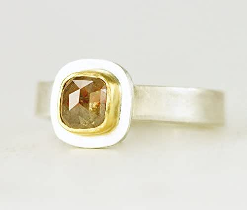 Amazon.com: Rose Cut Diamond Engagement Ring - Sterling and 22k Gold ...