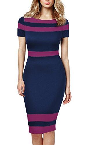 Mmondschein Women's Scoop Neck Optical Illusion Business Bodycon Dress L Blue/Red by Mmondschein