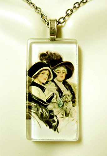 (Women riding with their Brussell Griffin glass pendant - DGP02-407 - Harrison Fisher)