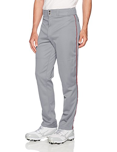 Wilson Men's Classic Relaxed Fit Piped Baseball Pant, Grey/Scarlet, (Scarlet Baseball Pants)