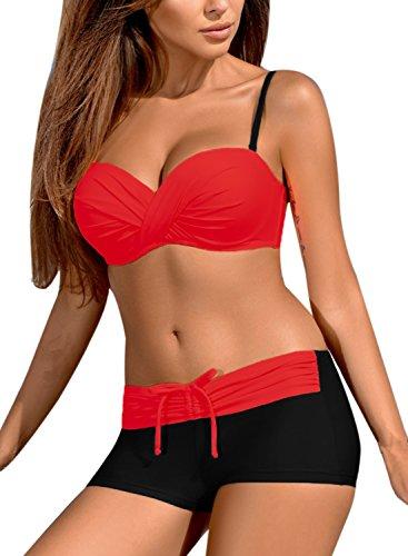 Podlily Women's Two Pieces Swimwear Halter Push Up Bikini Set With Boy Shorts Swimwear Small - Swimwear Ladies Two Piece