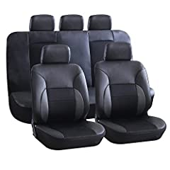 Name: AUTO HIGH 11-Pieces Car Seat Covers Full Set - Premium Faux Leather Automotive Front and Back Seat Protectors Set Package - Universal Fit For Car, Truck, Van, SUV-Made of Premium Faux Leather Fabric, this seat covers protects the car se...