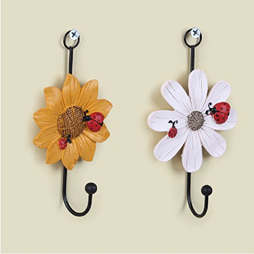 NPLE--2x Flower Sticky Seamless Self-Adhesive Wall Door Waterproof Mounted Hanger Hook (Ray Charles No Glasses)