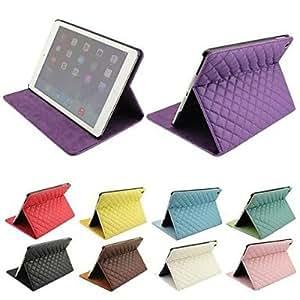Rejilla del diamante del estilo de cuerpo completo del cuero del soporte para el iPad Aire (colores surtidos) , Morado