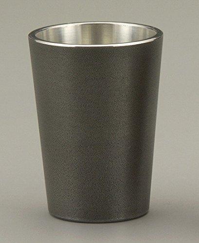 Osaka Naniwa Suzuki, Japanese Hand-made Tin Whisky Cup/IBUSHI 30ml,w/original wooden box (Black) by Osaka Naniwa Suzuki
