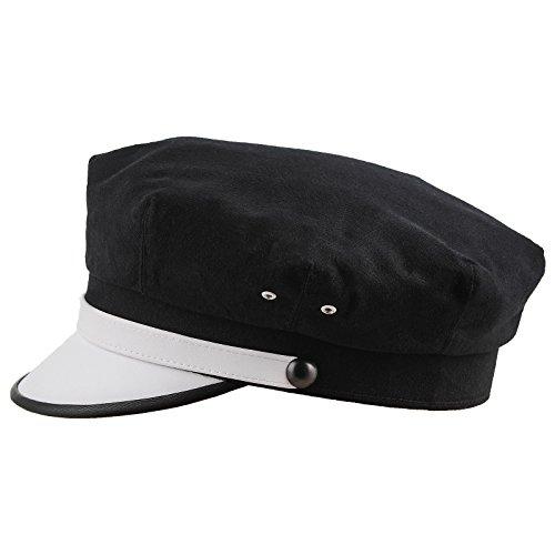 Motorcycle Hat (Sterkowski Retro Elvis Style Moto Hat Pure Cotton US 7 1/2 Black/White)