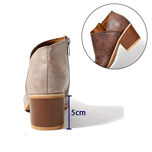 Block Size Boots Women 5 2 Leather Casual Khaki Heel Chunky Winter HAINE 8 5cm Chelse Ankle Shoes 71xdYnp