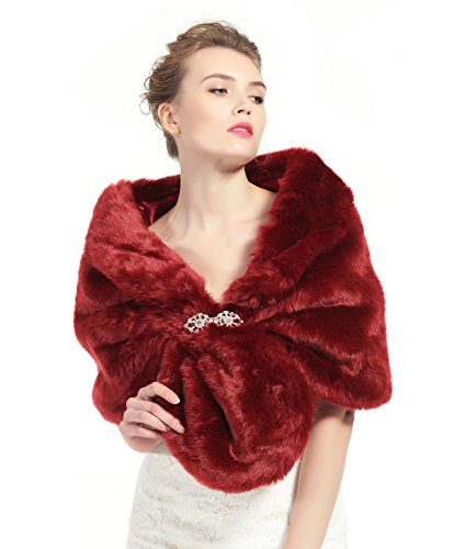Faux Fur Shawl Wrap Stole Shrug Winter Bridal Wedding Cover Up Wine red Size M ()