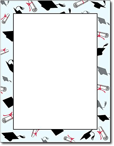 Graduation Caps & Diplomas Stationery - 80 Sheets by Desktop Publishing Supplies, Inc.