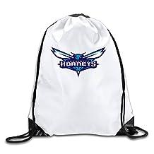 Charlotte Hornets Basketball Team Logo White Drawstring Backpack Sport Bag For Men & Women