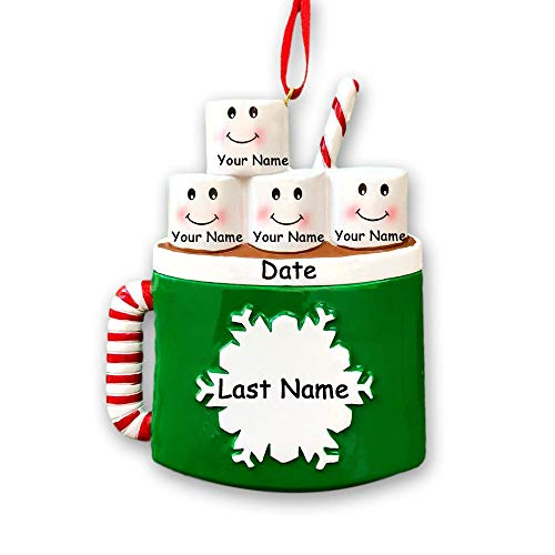 Personalized Marshmallow Family of 4 Christmas Ornament - Hot Cocoa Coffee Mug with Snowflake Detail - Your Choice Names and Date