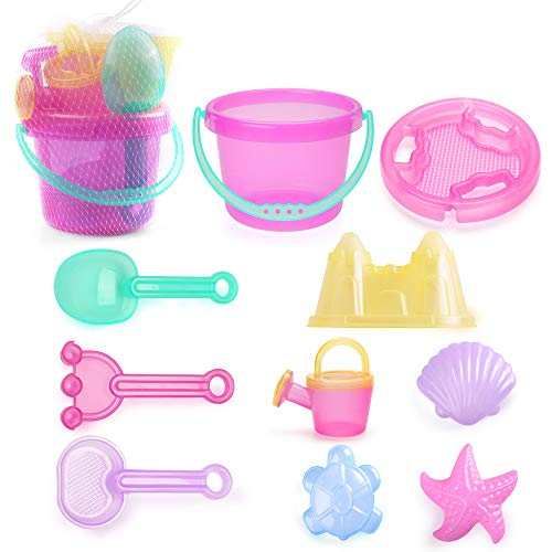 LotFancy Beach Toys for Girls, Sand Toys for Toddlers, Beach Toy Set with Bucket, Castle Mold, Sand Sifter Cover, Star Shell Mold, Rake, Watering Can, Shovel Tool Kit for Kids