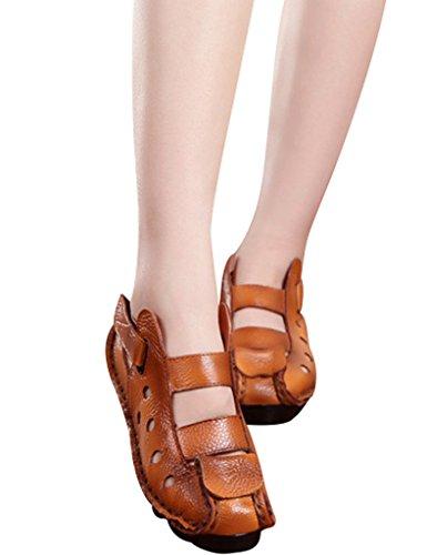 Youlee Frauen Sommer Leder Sandalen Schuhe Gelb