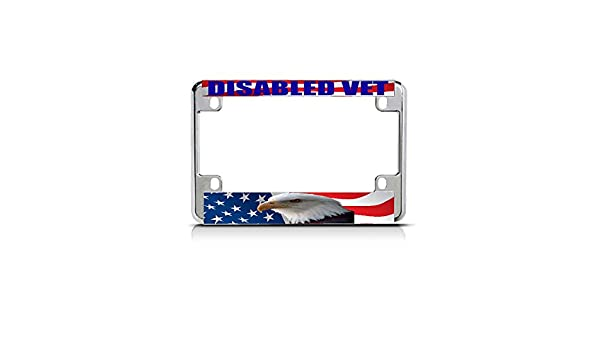 DISABLED VET WHITE BLUE Chrome Metal Bike Motorcycle License Plate Frame Tag