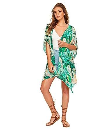 134dc5940d5 SweatyRocks Women s Striped Beach Wear Cover up Longline Kimono ...