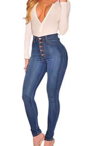 Des Pantalons Les Femmes Chevilles Pantalons YACUN Taille Les blue Haute Jeans Ppx1q