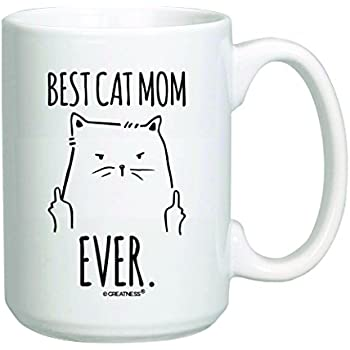 15 oz Funny Cat Gifts Best Cat Mom Ever Mug - Rude Cat Lovers Cat Memes Gift - Coffee Tea Cup White (15 oz, White)