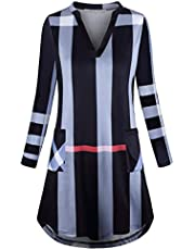 SeSe Code Women's Loose Long Sleeve Vneck Plaid Swing Tunic T-Shirt Dress with Pocket