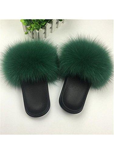 Sliders Sweet Plush Furry Fluffy Large Flats Fur Women Size fox Ladies green Summer Slippers 45 hair Hot Fox Hair Jwhui Home Sale Cute Shoes nYx80qF7wz