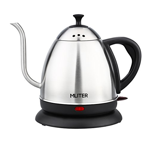 Boiler Water Safety (MLITER Electric Gooseneck Kettle Cordless Stainless Steel Drip Kettle for Pour Over Coffee and Tea, 1000W Water Boiler 1.0 Litre Tea Heater with Auto Shut Off & Boil Dry Protection)