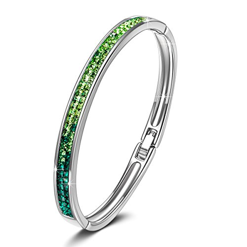 (Kate Lynn Bracelet for Women Jewelry Gift Women's Green Crystals Bangle Bracelet Jewelry Anniversary Birthday Valentine Gifts for Her Gifts for Women for Her Birthday Gifts for Mom Teen Girl Gifts)