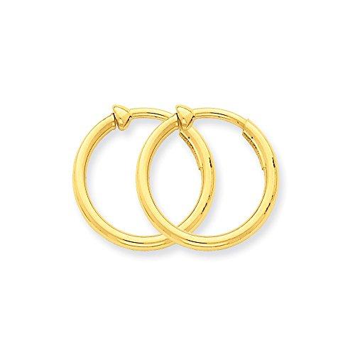 - 14k Yellow Gold Non Pierced Clip On Hoop Earrings Ear Hoops Set Fine Jewelry Gifts For Women For Her