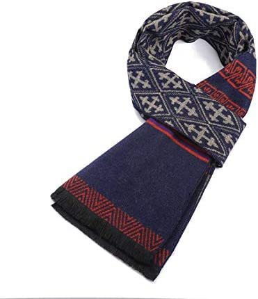 Color : Red+Blue, Size : One Size LLLNHQ Mens Scarf Mens Winter Plaid Scarf Classic Soft Luxurious Cashmere Feel Wrap Scarf Warm Scarves for Festival