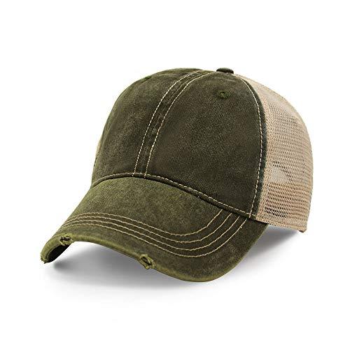 Vintage Distressed Trucker Hat I Adjustable Back I Unisex Headwear (Army Green)