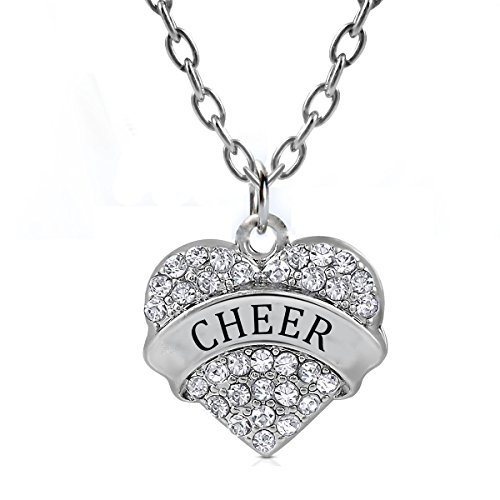 Heart Cheer Pendant Necklace Gifts Women Girl Silver Jewelry - White -