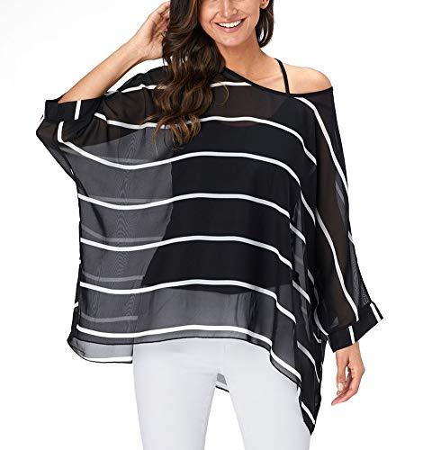 (Myosotis510 Women's Chiffon Caftan Poncho Tunic Top Cover up Batwing Blouse (Z-4331))