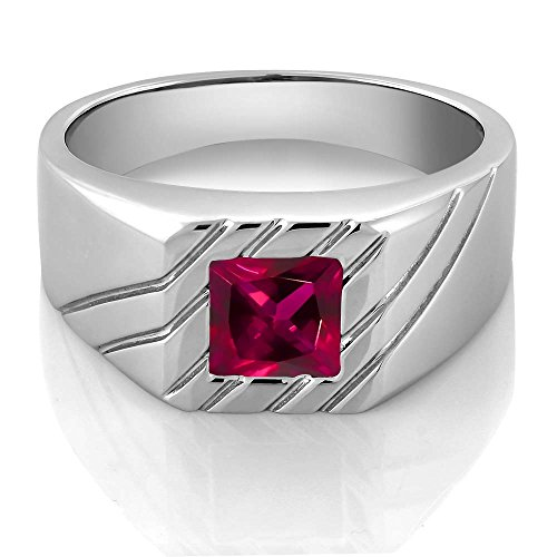 1.71 Ct Princess Red Created Ruby 925 Sterling Silver Men's Ring (Ring Size 10)