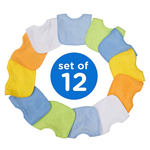Neat Solutions 2-Ply Knit Terry Solid Color Feeder Bibs in White – 10 Pack