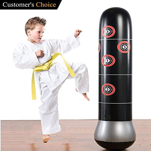 Eforoutdoor Fitness Punching Bag Heavy Punching Bag Inflatable Punching Tower Bag Freestanding Children Fitness Play Adults De-Stress Boxing Target Bag ()