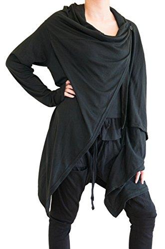 BohoHill Women's Long Cardigan Drape Jacket Creative Vest Jersey Cotton (Black)
