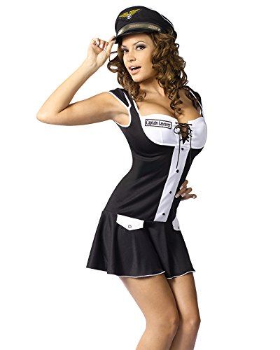Womens Pilot Costume Black Captain Dress Sexy Costumes Sizes: Small-Medium]()