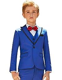 ELPA ELPA Boys Tuxedo Suits Kids Slim Fit Dress Wear 5 Pcs Formal Outfit