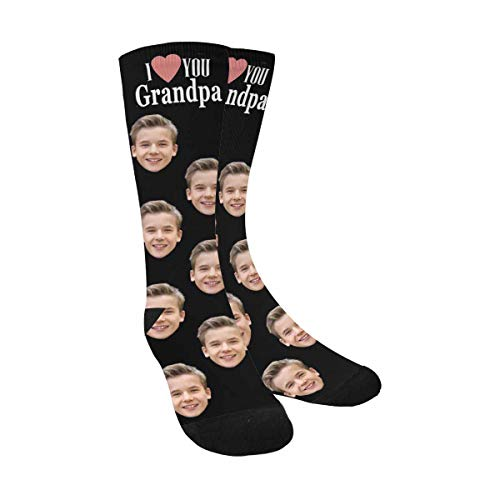 Custom Print Your Photo Face Socks, Personalized I Love You Grandpa Black Crew Socks for Men Grandfather