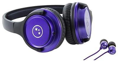 Able Planet Musicians' Choice Over-the-Ear Stereo Headphones PLUS Sound Isolation Earphones, SH180PRM-SI170PR, PURPLE