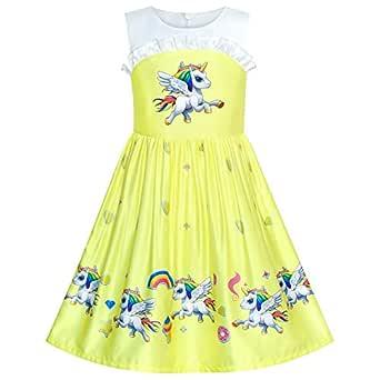 Sunny Fashion Vestido para niña Amarillo Impresión de ...