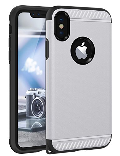 iPhone X Case, CHTech Slim Dual Layer Protective Shock-Absorption Armor Corner Cushion Case Cover with Lanyard Hole Design Case for Apple iPhone X - Silver