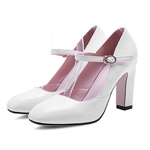 BalaMasa Girls slip-on kitten-heels solido in vernice pumps-shoes, Bianco (White), 35