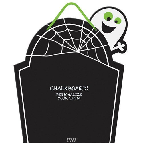 Chalkboard Tombstone Sign - Cutout Wood with Ribbon for Hanging, 15 X 12-1/2 (Create Your Own Halloween Tombstone)