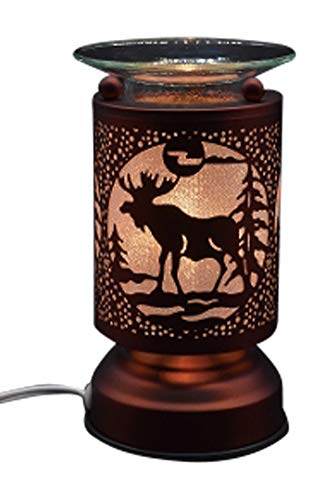 L&V New Electric Touch Fragrance Aromatherapy Lamp Oil Warmer Deer Moose Cabin Decor