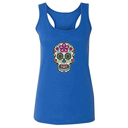 Sugar Skull Dia de Los Muertos Horror Retro Heather Royal S Womens Tank Top