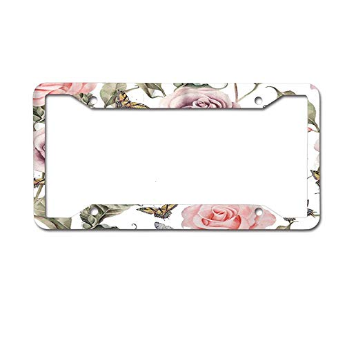 - SDGlicenseplateframeIUY Colorful Abstract Pattern with Watercolor Realistic Rose and Butterflies Green Accent Beautiful Beauty Bloom Custom License Plate Frame Sublimation Printed 4 Holes